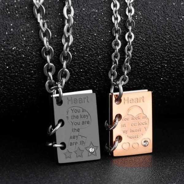 Books Design 3A Zircon Titanium steel Couples Necklace Valentine'S Day Gift