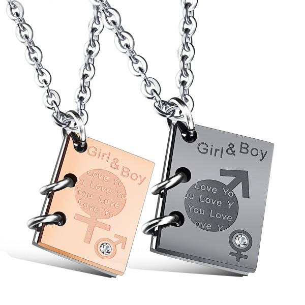 3A Zircon Titanium steel Books Design Couples Necklace Valentine'S Day Gift
