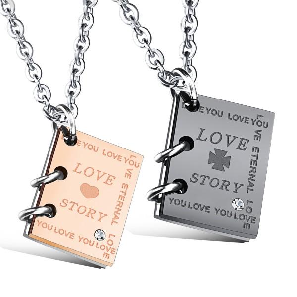 3A Zircon Titanium Books Design Steel Couples Necklace Valentine'S Day Gift