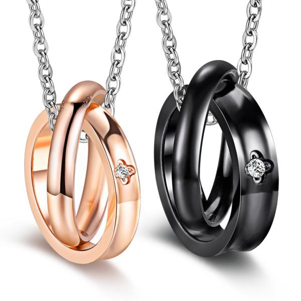 Black & Rose Golden 3A Zircon Titanium steel Couples Necklace Valentine'S Day Gift