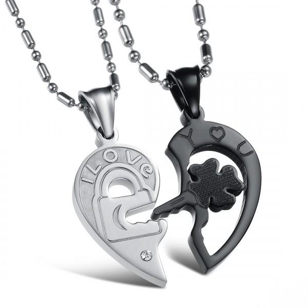 Heart 3A Zircon Titanium steel Couples Necklace Valentine'S Day Gift