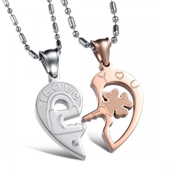 3A Zircon Heart Titanium steel Couples Necklace Valentine'S Day Gift