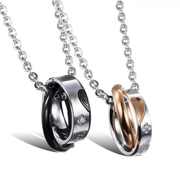 Romantic Rhinestone Titanium steel Couples Necklace Valentine'S Day Gift