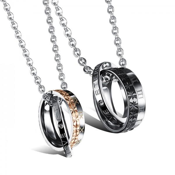 Rhinestone Titanium steel Romantic Couples Necklace Valentine'S Day Gift