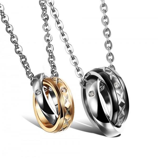 Romantic Lovers Rhinestone Titanium steel Couples Necklace Valentine'S Day Gift