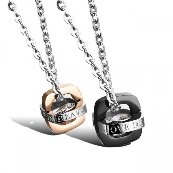 Rhinestone Titanium steel Couples Necklace Romantic Lovers Valentine'S Day Gift