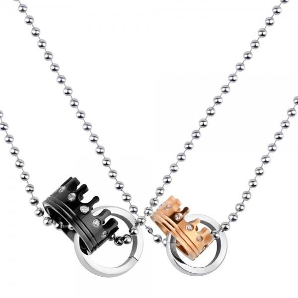 Fashion Lovers Rhinestone Titanium steel Couples Necklace Valentine'S Day Gift
