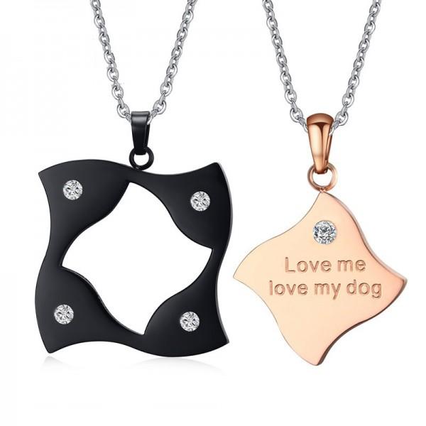 3A Zircon Titanium steel Couples Black & Rose Golden Necklace Valentine'S Day Gift