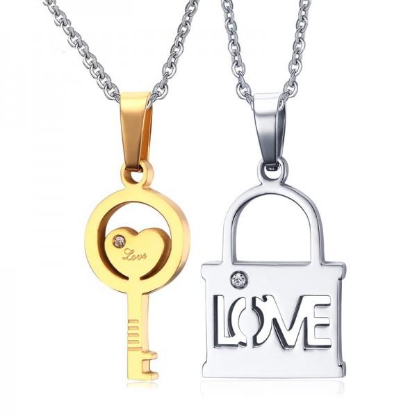 Stylish Rhinestone Titanium steel Couples Necklace Valentine'S Day Gift