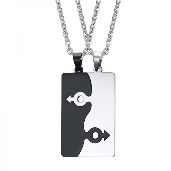 Gays Rhinestone Titanium steel Couples Necklace Valentine'S Day Gift