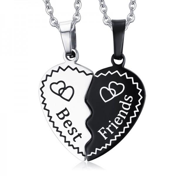 Rhinestone Titanium steel Trendy Couples Necklace Valentine'S Day Gift