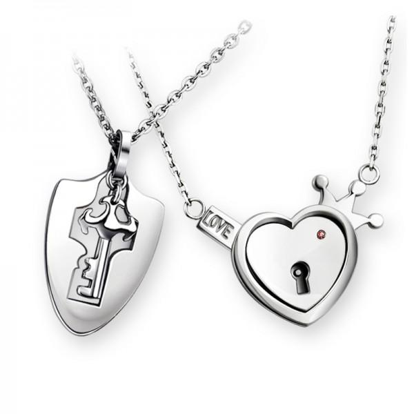 Rhinestone Exquisite Titanium steel Couples Necklace Valentine'S Day Gift