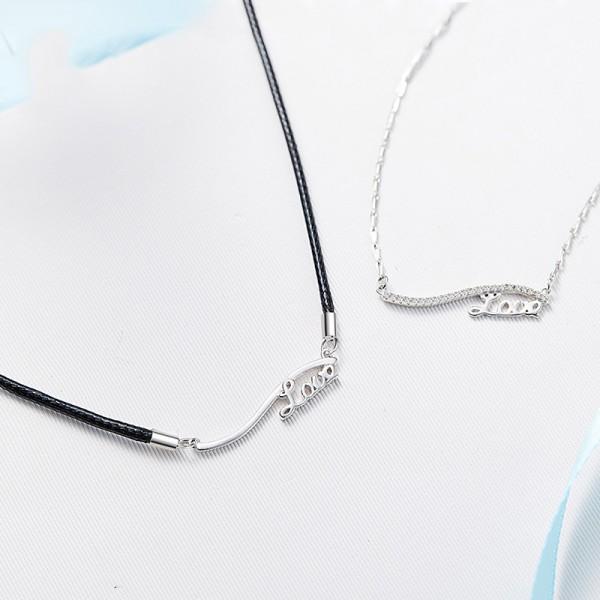 Rhinestone Fashion  925 Silver Ladies Necklace Valentine'S Day Gift
