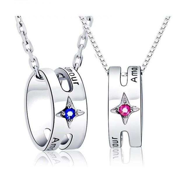 Rhinestone Silver Ladies Trendy Necklace Valentine'S Day Gift