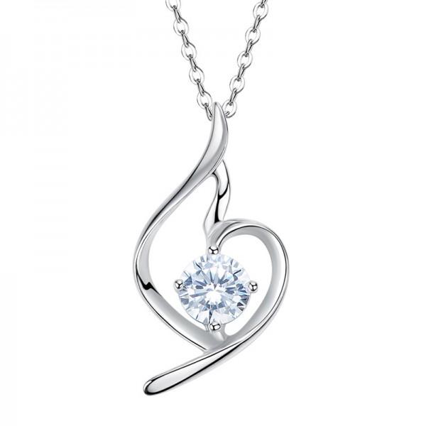 Romantic 925 Silver Rhinestone Ladies Necklace Pendant