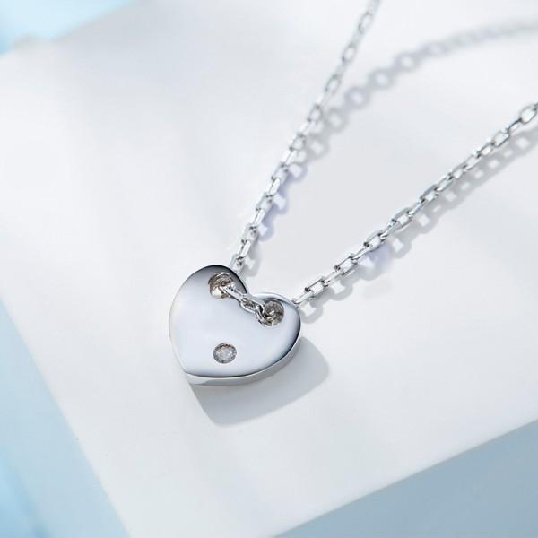925 Silver Rhinestone Ladies' Necklace With Chain Valentine'S Day Present