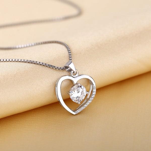 Silver 3A Zircon Ladies Necklace Romantic Pendant