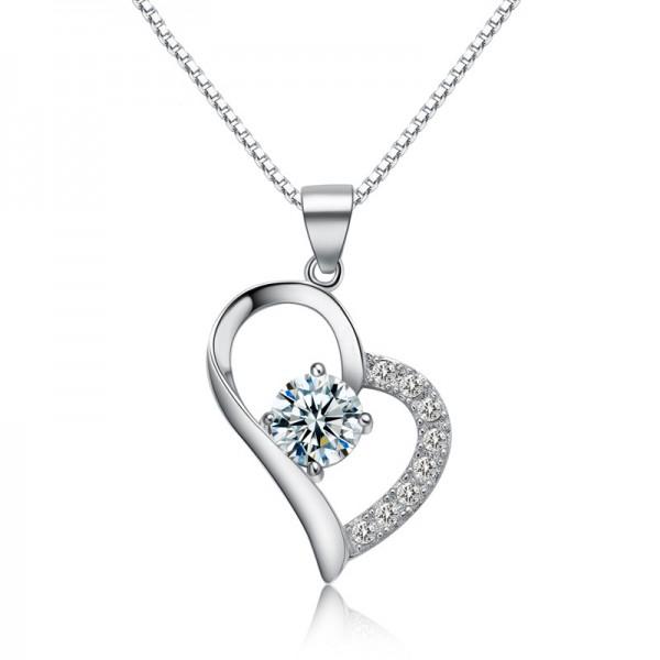 925 Silver 3A Zircon Ladies Necklace Modern Pendant