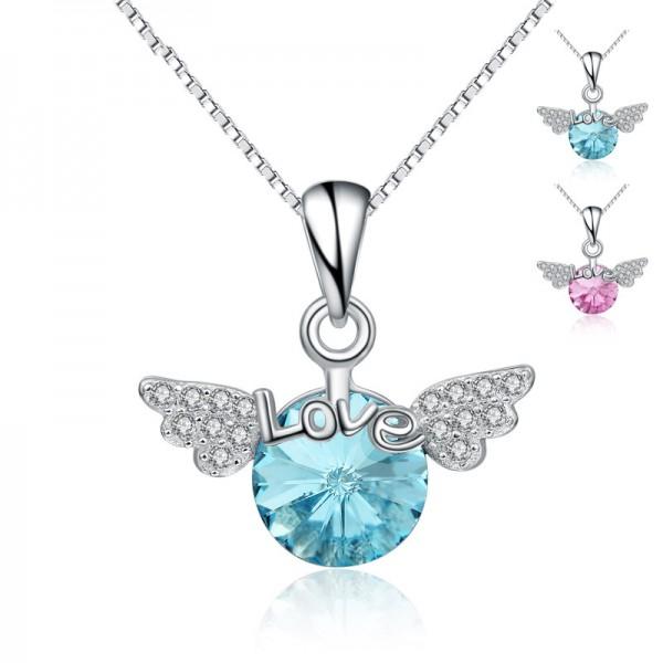 925 Silver 3A Zircon Ladies Necklace Pendant Romantic Women Necklace