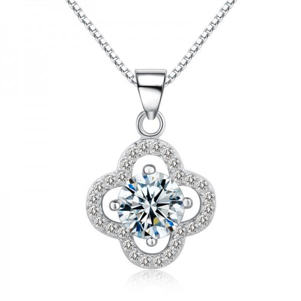 925 Silver 3A Zircon Romantic Ladies Necklace Pendant