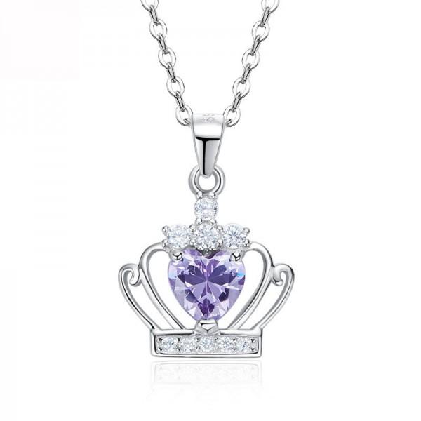 Simple Purple Cubic Zirconia S925 Silver Necklace